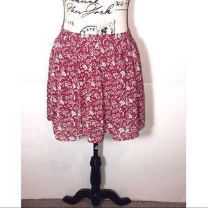 Forever 21 Damask Floral Skater Skirt Lined Lace